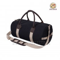 "Rothco 19"" Canvas & Leather Gym Bag Black"