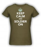 Brittisk T Shirt - Keep Calm and Soldier On Grön