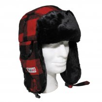 US Hat with ear flaps FUR FLYER checkered red / black
