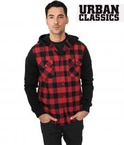 Urban Classics Flannel shirt with hood - red